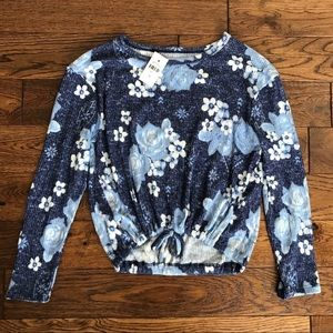 Justice NWT Blue White Floral Crop Tie Sweater